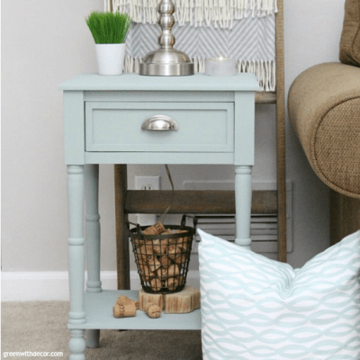 An end table makeover with clay paint. A great furniture makeover with clay paint - this Natural Wax is perfect for sealing a piece without changing the original look of the paint color! Love this pretty beachy blue paint color, perfect for a side table!