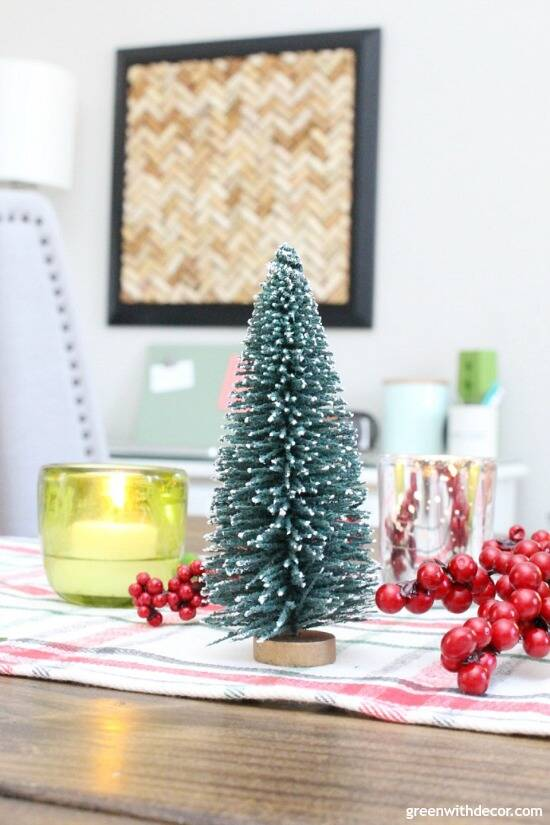 A plaid Christmas centerpiece and tablescape with dollar spot and vintage finds. Remember to put a little water in the bottom of votives so the candles don't get stuck!