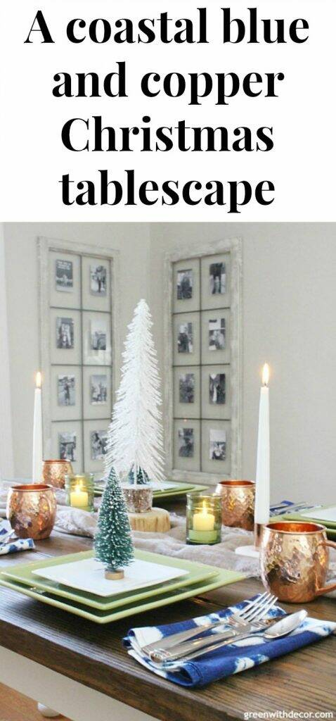A blue and copper Christmas centerpiece + tablescape - perfect for a costal tablescape! Clever easy ideas for a Christmas table - love the scarf as a table runner and all of the candles and mini Christmas trees!