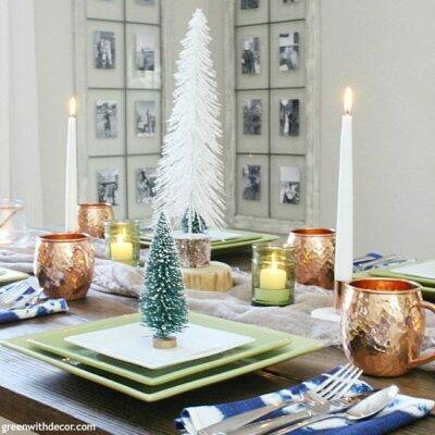 A coastal blue and copper Christmas centerpiece + tablescape