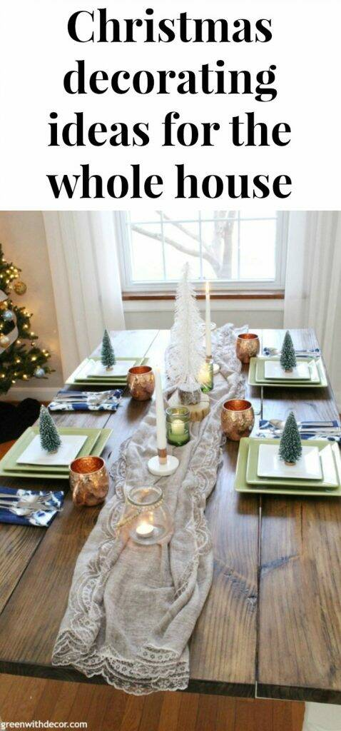Easy festive Christmas decorating ideas for the whole house, including the dining room, foyer, living room and more!