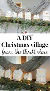 A DIY Christmas village from the thrift store. Clay paint makes these old pieces look expensive and new - perfect for a Christmas mantel or other Christmas decorating! So cute and thrifty!