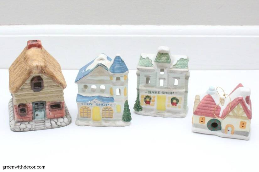 A DIY Christmas village from the thrift store - the before. This is an easy holiday DIY!