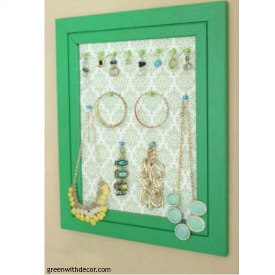 DIY wall decor: A jewelry display with a green frame