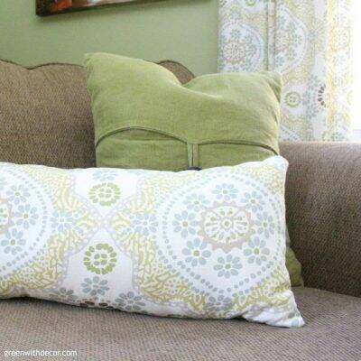 Love this home office makeover! This pillow was a DIY made from extra fabric.