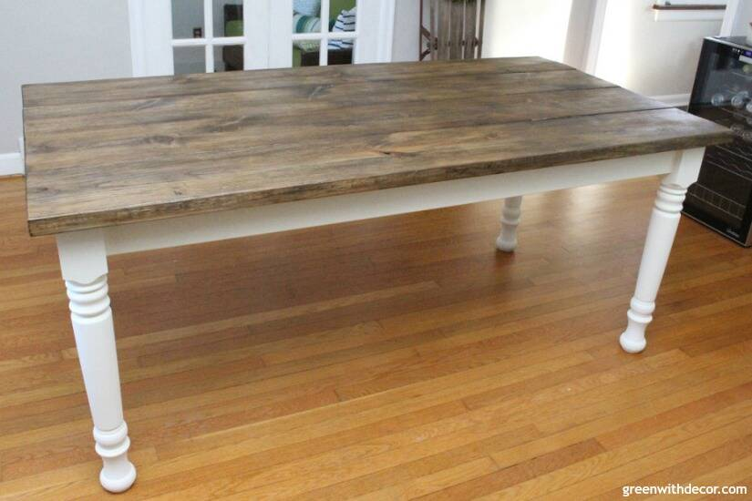 How to build a farmhouse dining table from start to finish - this table is gorgeous, and this step by step tutorial is easy to follow! Just love the finish on this table!