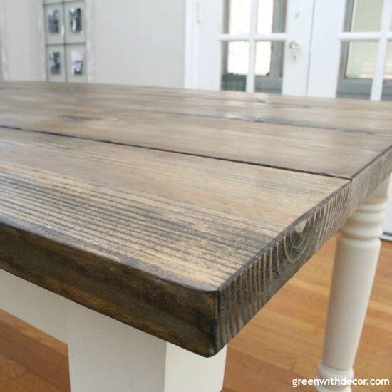 How to build a farmhouse dining table from start to finish - this table is gorgeous, and this step by step tutorial is easy to follow! Such a pretty finish on this table!