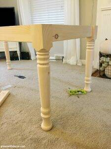 How to build a farmhouse dining table from start to finish - attach the apron and table legs