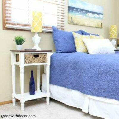 Two-toned nightstand makeover with clay paint | furniture makeover | nightstand | how to use clay paint | get a two-toned look for furniture | guest bedroom makeover | coastal bedroom