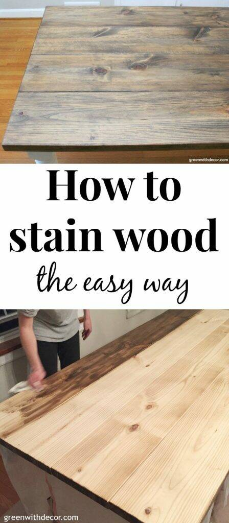"A farmhouse table being stained with a dark wood stain with a text overlay, ""How to stain wood the easy way."""