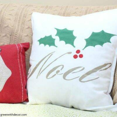 How to stencil a pillow for Christmas. This is such a cute DIY pillow project, and you could make this easy pillow for any holiday or just everyday decor. What a quick, easy project!