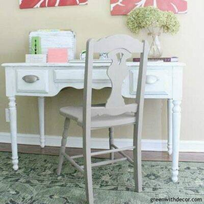 Great desk makeover with clay paint - good idea for a furniture makeover! Perfect for a home office.