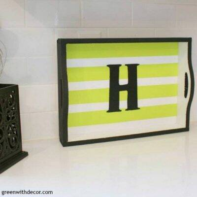 Great idea for a quick, easy decor update. Paint something small, like a tray or picture frame, to give a corner of the room a whole new look!