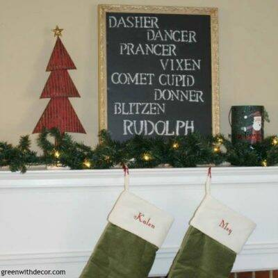 A fun Christmas DIY project with an old frame and chalkboard paint. I love this! It looks great on a mantel or even as a wall hanging.