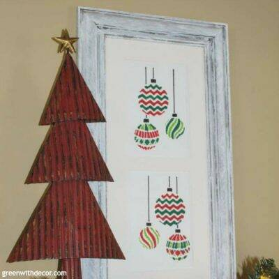 A Christmas craft with a stencil and an old frame. I love the white washed look of this frame!