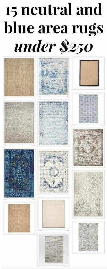 15 affordable blue and neutral area rugs perfect for any room in the house! And they're all under $250! Definitely saving this one!