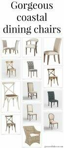 Gorgeous neutral coastal dining chairs on a variety of budgets. Love the mix of fabric covered chairs, wood crossback chairs and painted chairs. So many beautiful chair options for a kitchen or dining table!
