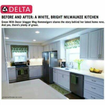Green With Decor kitchen renovation on Delta Faucet's Inspired Living