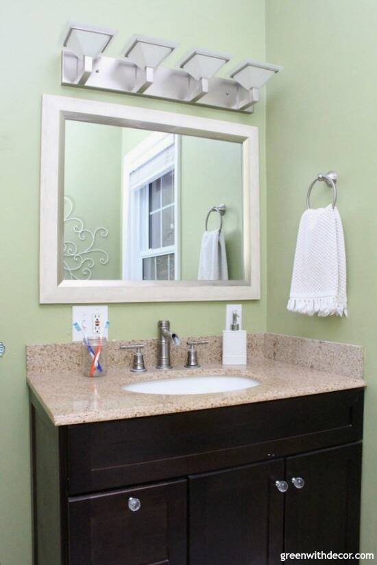 Easy ways to update a bathroom without renovating - if you can't afford a bathroom remodel or are renting, these are great tips for updating your bathroom! New vanity hardware is a small update that can make a big difference in a bathroom.