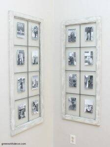 DIY wall decor: Dry brushed windows turned picture frames