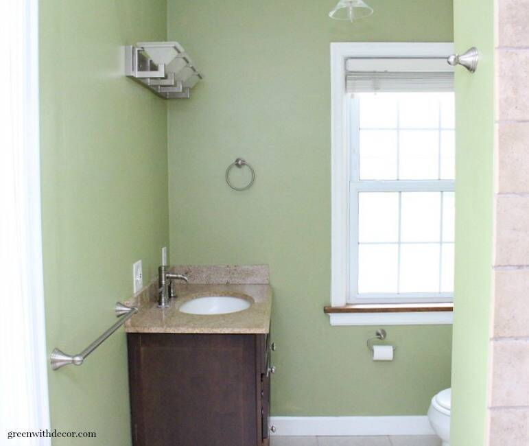 Ryegrass green painted bathroom - such a gorgeous shade of green paint!