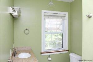 Ryegrass green painted bathroom - such a pretty shade of green paint!