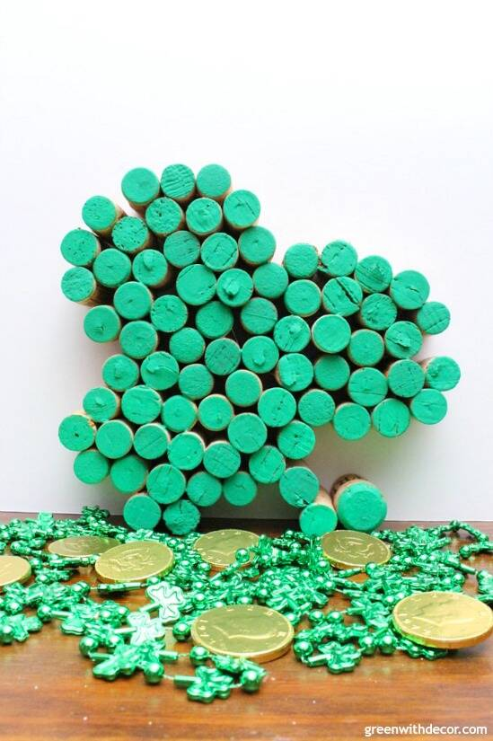 Make this easy DIY cork shamrock for St. Patrick's Day. Such a fun way to use old wine corks for the holiday, so cute!