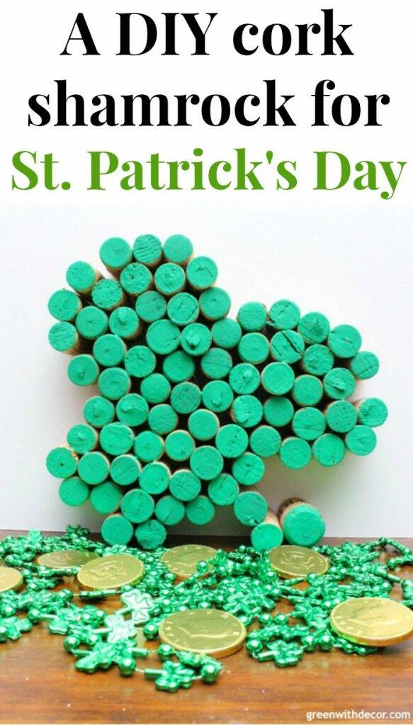 Make this easy DIY cork shamrock for St. Patrick's Day - gotta love a good St. Patrick's Day DIY! Plus a great way to use up old wine corks.