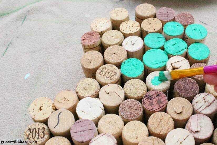 Make this easy DIY cork shamrock for St. Patrick's Day. Such a fun way to use old wine corks for the holiday!