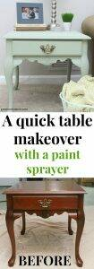 A quick way to give a table a makeover! Use a paint sprayer to get good coverage on any diy furniture makeover with just one coat. Such a pretty shade of sage green - it's clay paint and works so well in the paint sprayer!