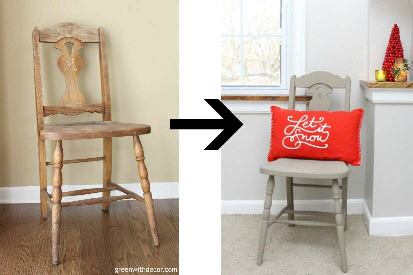 A list of the 10 best pieces to buy at the thrift store - tan chair makeover