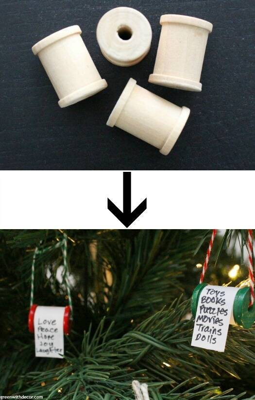 A list of the 10 best pieces to buy at the thrift store - DIY spool Christmas list ornaments