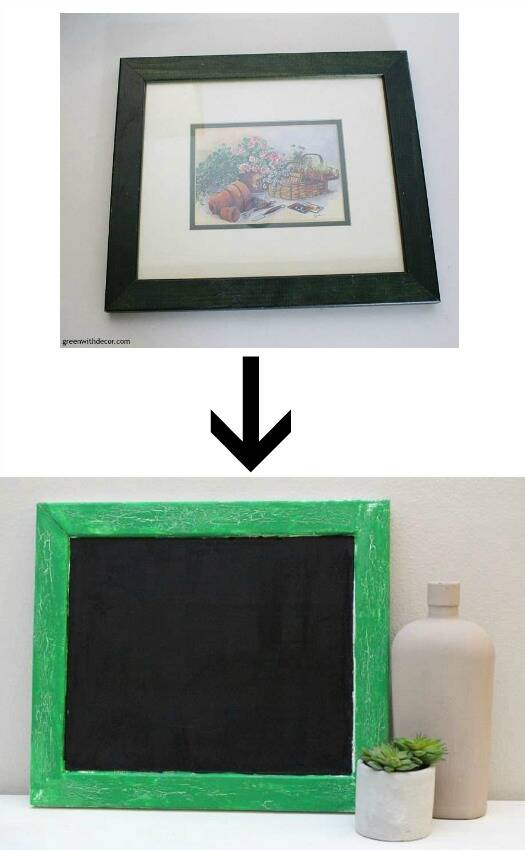 Turn an old frame into a pretty chalkboard - plus an easy tutorial for crackling paint on the frame.