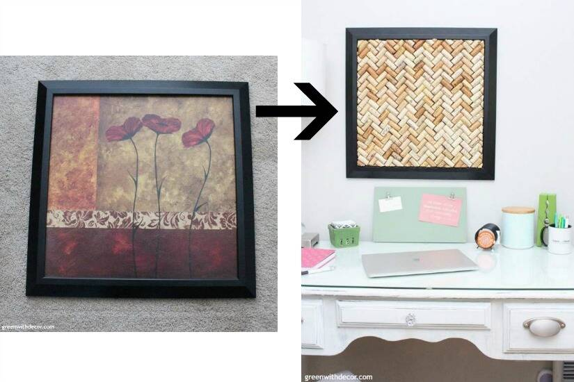 A list of the 10 best pieces to buy at the thrift store - frame turned cork bulletin board