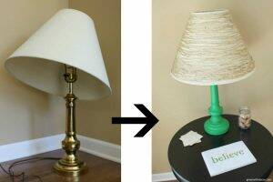 An easy gold lamp makeover from the thrift store. Use some paint and twine for a cute playorom or kids' bedroom lamp!