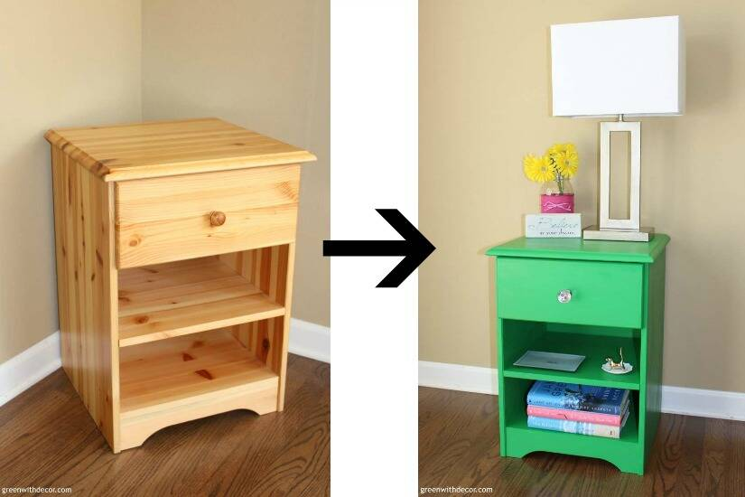 A list of the 10 best pieces to buy at the thrift store - green nightstand makeover