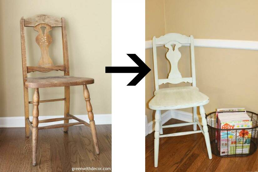 A list of the 10 best pieces to buy at the thrift store - light green chair makeover