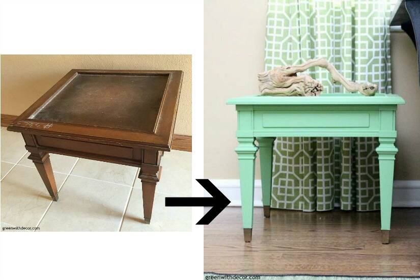 A list of the 10 best pieces to buy at the thrift store - green table makeover