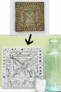 Turn old dated tiles into a pretty display piece or wall decor with some paint and glaze.