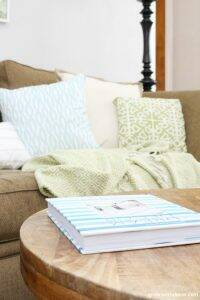 Pretty coastal throw pillows in white, aqua and green brighten up a dark couch.