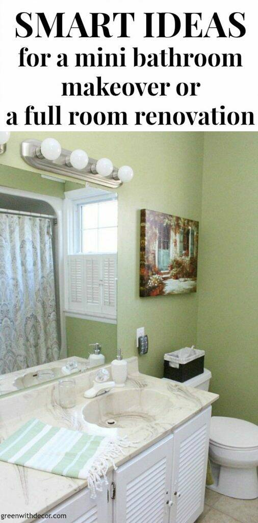 Smart ideas for updating an outdated bathroom for a mini room makeover or a full bathroom remodel - definitely saving this list!