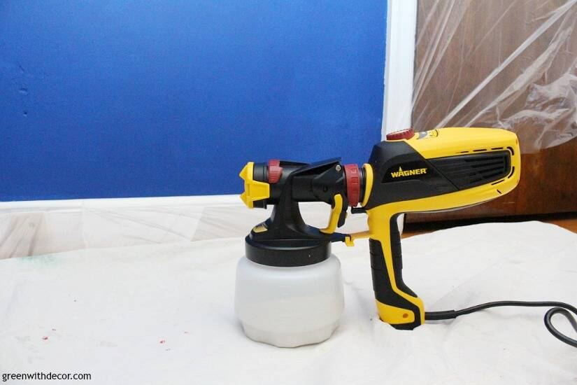 Use a FLEXIO paint sprayer to paint walls even faster! This is so smart, and that pre-taped masking film stops paint from getting everywhere - genius!