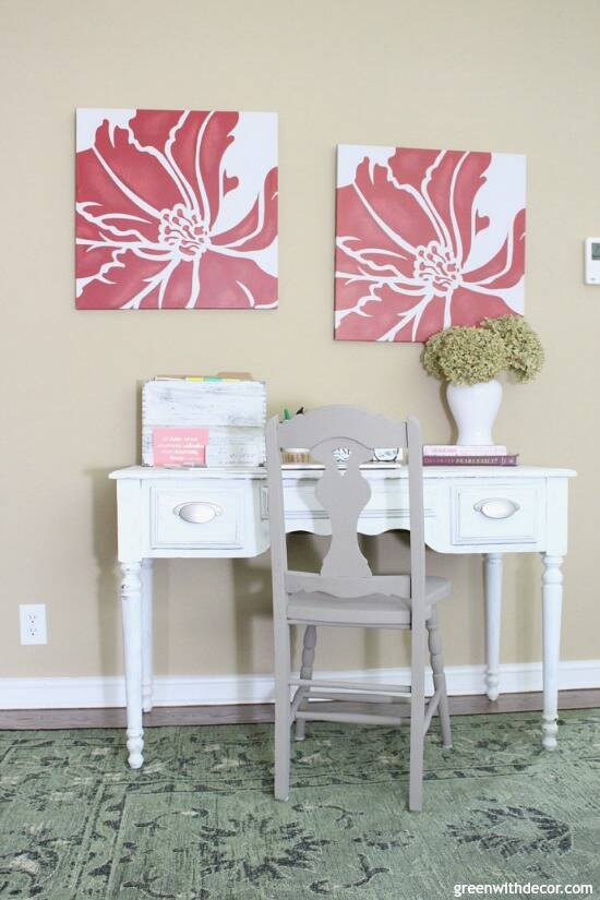 Such a pretty warm neutral wall color! Camelback by Sherwin Williams - love it in this home office with the rustic farmhouse desk!