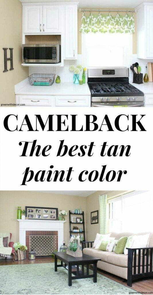 Camelback by Sherwin Williams is a gorgeous neutral, warm, tan paint color for any room in the house! Looks great in the kitchen, living room, foyer, bedroom, home office and more - love it in this home with her coastal decorating style! Such a pretty paint color!