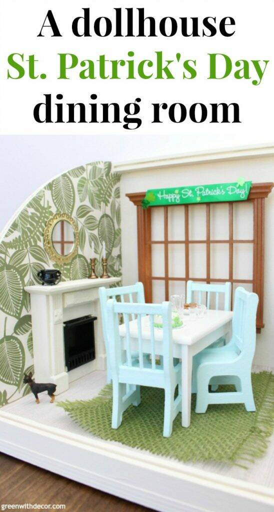 A miniature St. Patrick's Day dining room - easy ideas for decorating a dollhouse! Love all of the festive holiday touches and the furniture she painted for a fresh look!