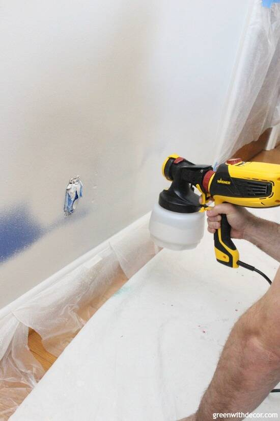 Wondering how to use a paint sprayer to paint walls? Use a FLEXIO paint sprayer to paint interior walls even faster! That pre-taped masking film stops paint from getting everywhere - genius especially for painting right near the trim!