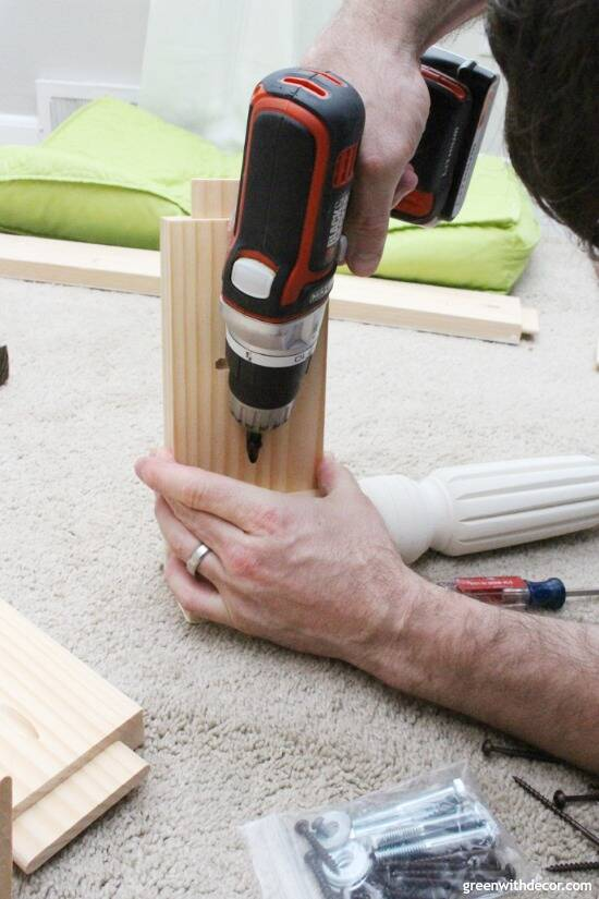 Drilling the apron and bench legs for a DIY bench