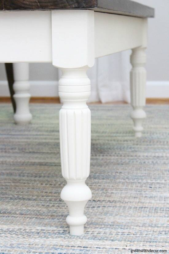 Farmhouse white bench legs on a DIY bench
