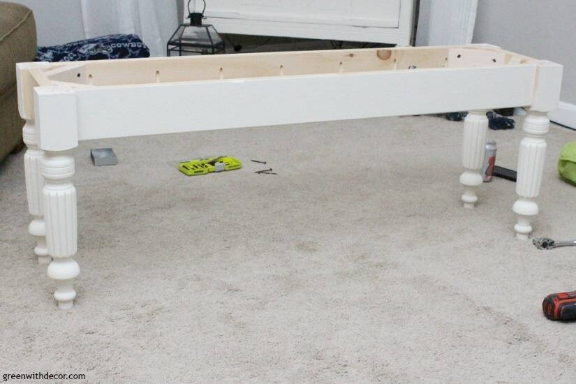 White farmhouse bench legs and apron for a DIY bench