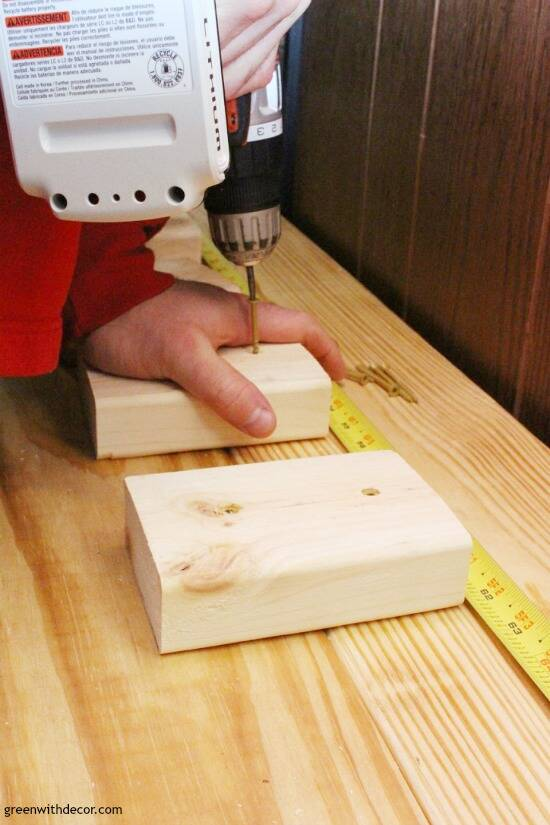 Drilling support boards into the bottom of a DIY bench top